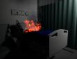 Simulação de início de incêndio em hospital virtual desenvolvido por Victor Saint Martin. (foto: arquivo do pesquisador)
